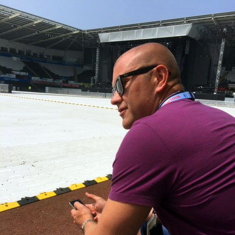David inspecting a new build sports stadium